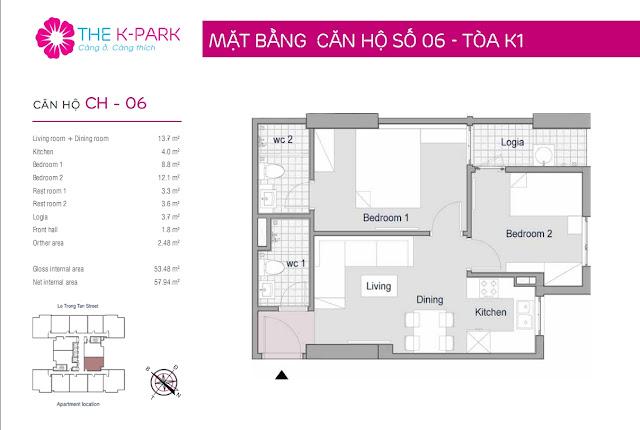 Thiết kế căn hộ 06 - Dt 53m2 - 02 phòng ngủ