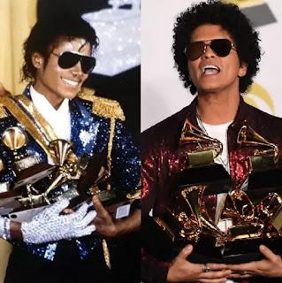 "Bruno Mars ""recreates"" Micheal Jackson's iconic Grammy moment"