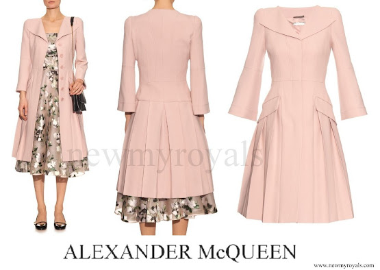 Princess Madeleine wore ALEXANDER MCQUEEN Open-neck pleated coat