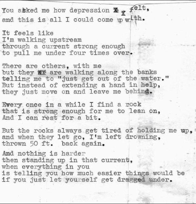 You asked me how depression felt..