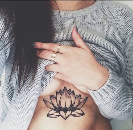 Sexy Under Boob Lotus Flower Tattoo