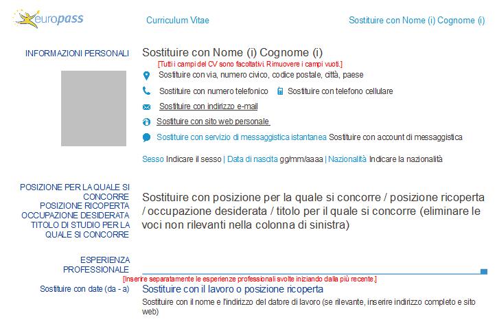 Curriculum Vitae Il Nuovo Modello Cv Europass 2013