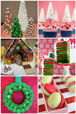 photo montage festive food Christmas macarons cake cupcakes cake pops candy sweets tree