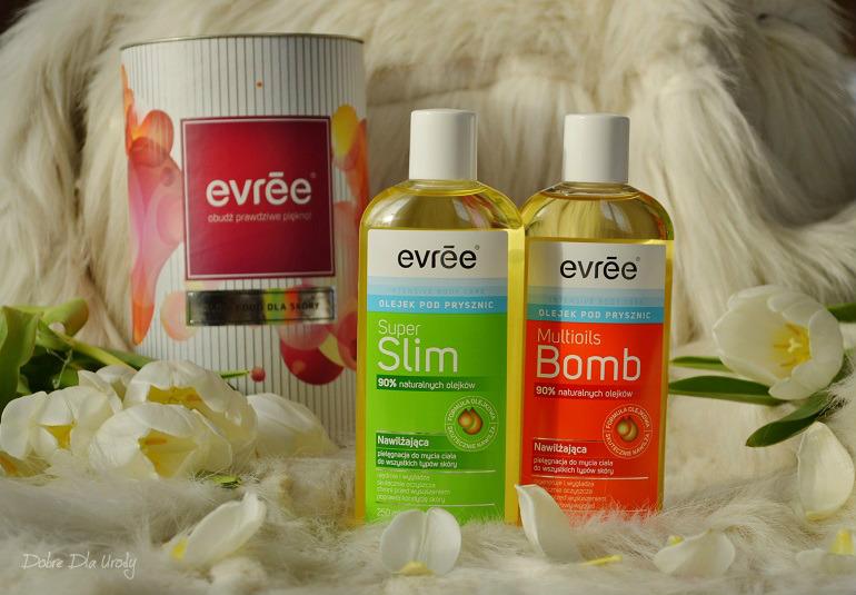 Multioils Bomb i Super Slim Olejki pod prysznic Evree - Nawilżająca pielęgnacja do mycia ciała
