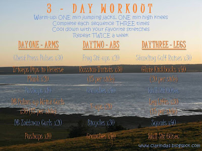 Enjoying the Course: 3-Day Workout - Arms, Abs, Legs