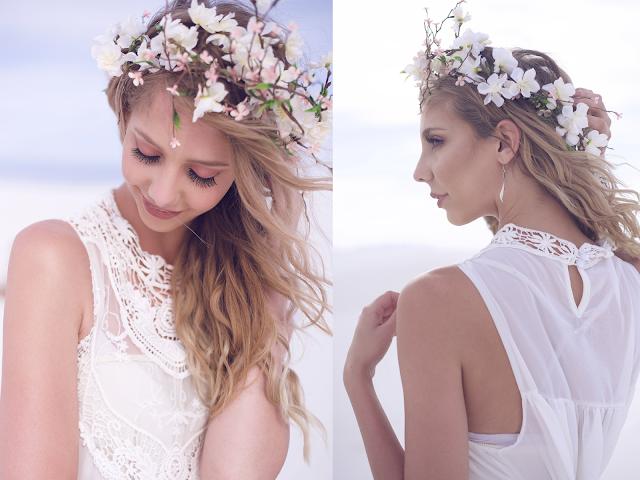 beautiful blonde model, blonde bride, outside flower crown