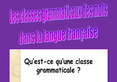 les classes grammaticaux des noms dans la langue française