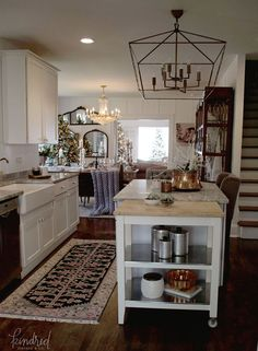 White kitchen in romantic Farmhouse Christmas holiday decorating shabby chic
