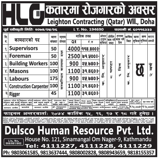 Jobs in Qatar for Nepali, Salary Rs 1,14,400