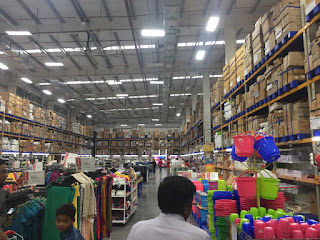 Inside a large wholesale warehouse in Mysore