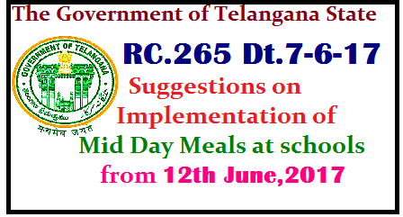 RC.265 Dt.7-6-17 Suggestions on Implementation of Mid Day Meals at schools from 12th June,2017 Suggestions on implementation of Mid Day Meals at schools from 12thJune,2017 C&DSE has given suggestions regarding implementation of Mid Day Meals as schools are being re-opened from 12th June,2017./2017/06/rc265-dt7-6-17-suggestions-on-implementation-of-mid-day-meals-at-schools-12th-june.html