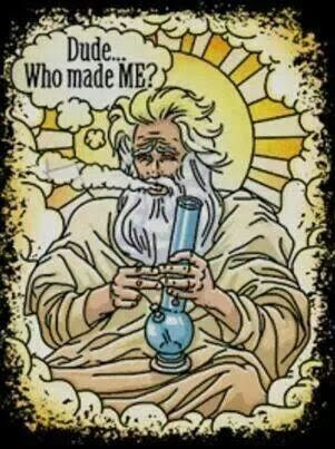 Funny Who Created God Cartoon - Dude, who made me? God smoking pot.