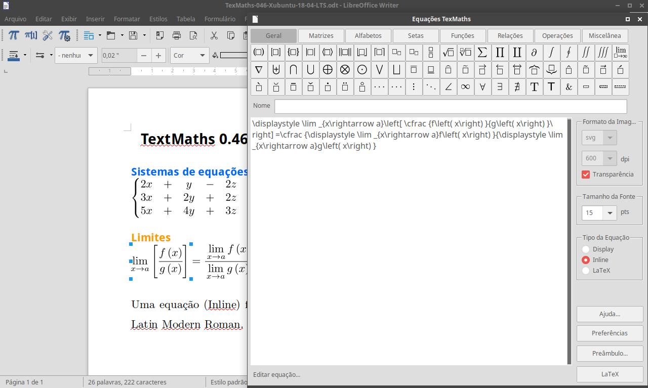Escreva em Latex com o Texmaths 0.46 no LibreOffice 6 sem saber nada de Latex