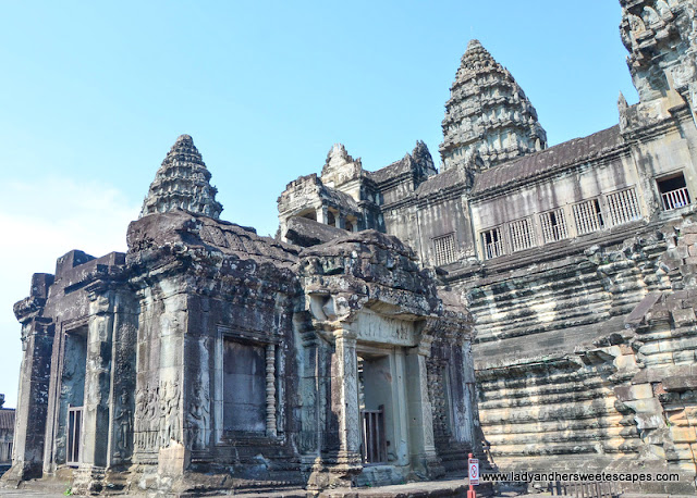 a closer look at the lotus-shaped spires of Angkor Wat