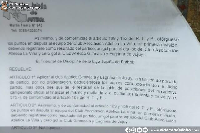 Gimnasia fue sancionado por la Liga Jujeña