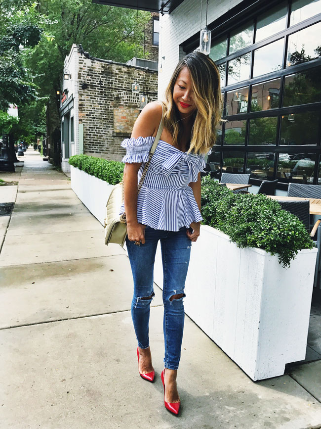 Striped Peplum Top, Style Steal Top, How to Style Tops Summer to Fall, Chicago Style from Summer to Fall