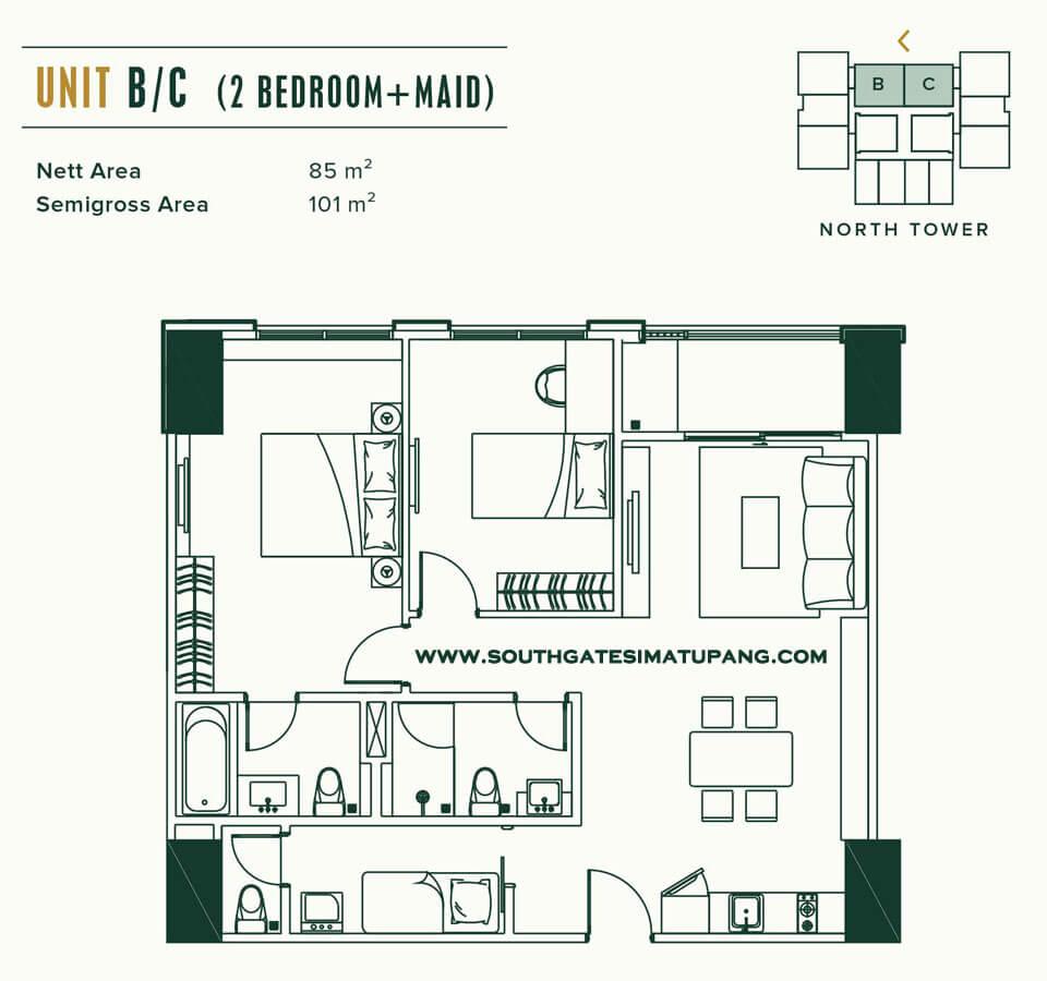 Floor Plan Unit 2 BR+Maid room Apartemen Southgate Jakarta