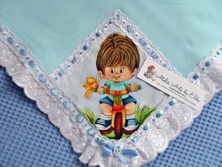 Flanela ou cueiro: menino no triciclo, Costura, Enxoval de bebê, Pintura em cueiro de bebê, Cueiro ou flanela,