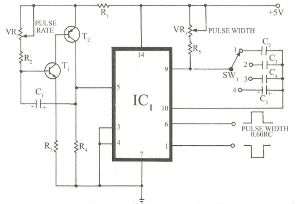 circuit schematic diagram simple pulse generator using