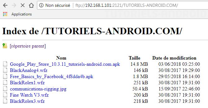 Explorer fichiers via FTP et WiFi sur Android