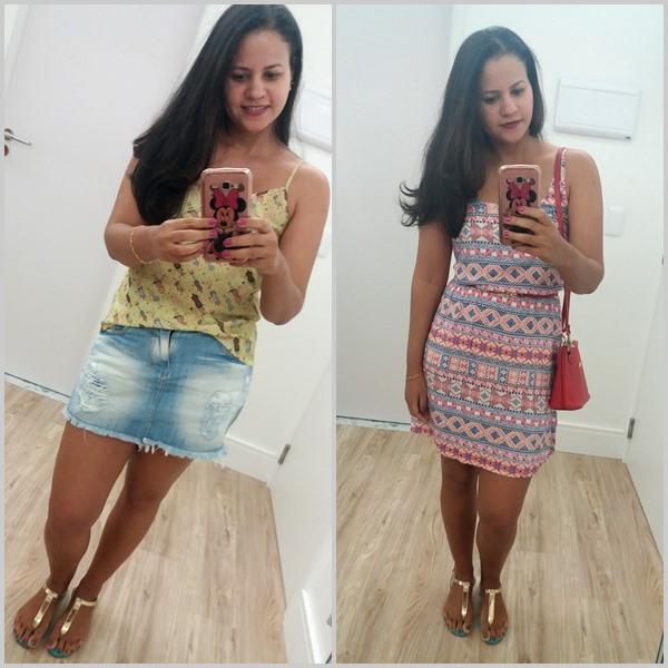 Looks do verão: Blusa com short jeans; Vestido; Sandália; Bolsa;