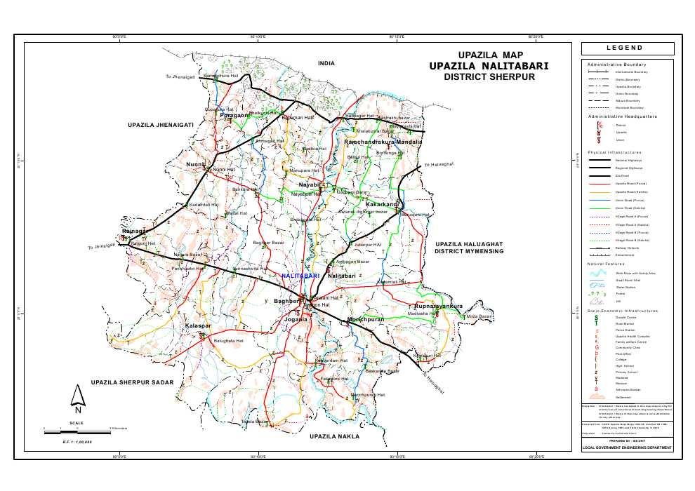 Nalitabari Upazila Map Sherpur District Bangladesh