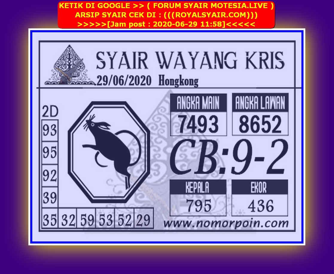 Kode syair Hongkong Senin 29 Juni 2020 273