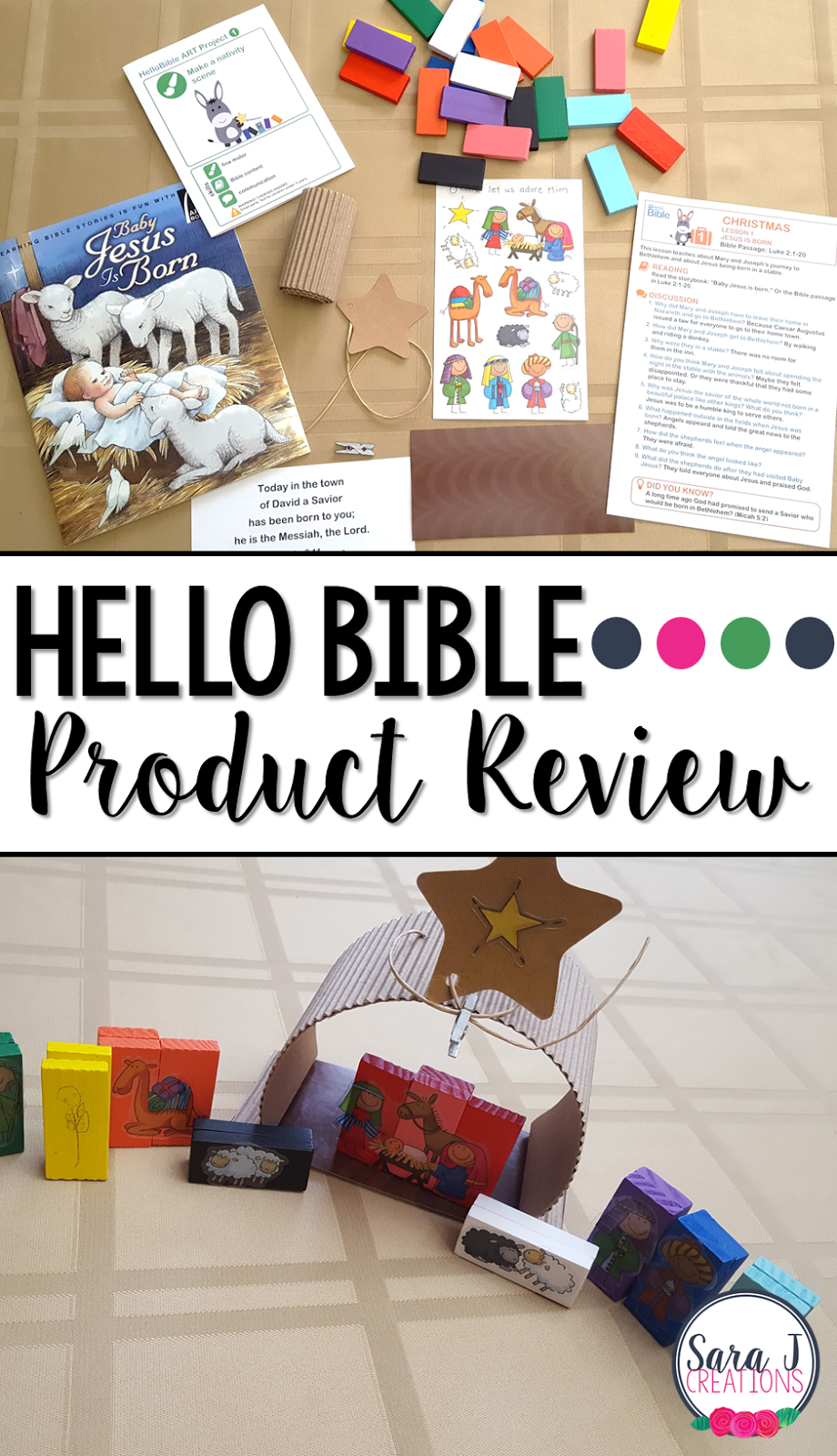 A review of the HelloBible subscription box service for kids. Comes complete with a Bible story book, related crafts, lesson plans and extra activities. Makes the perfect gift for the kids on your list! #hellobible #sarajcreations