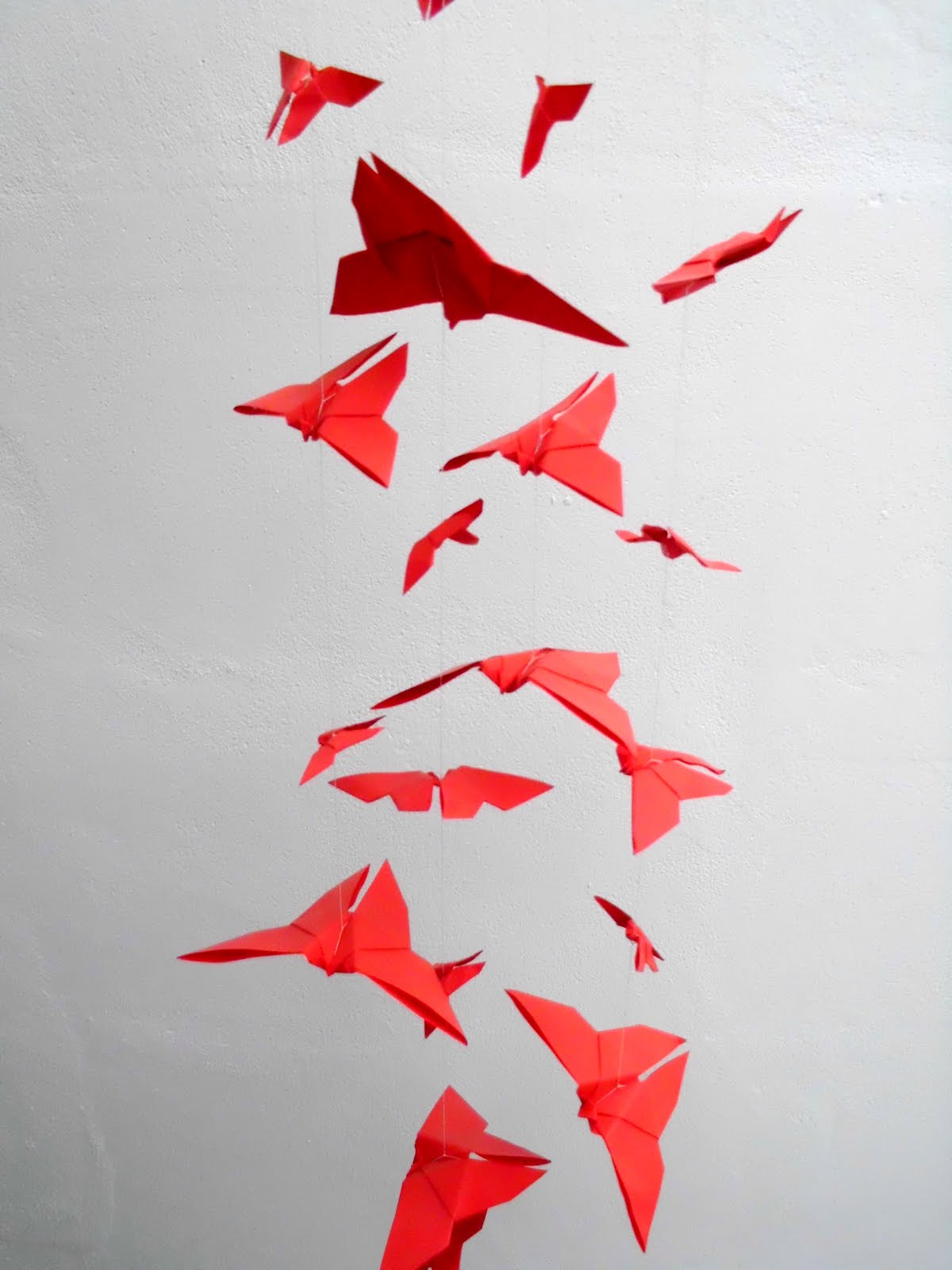I Love Mobile Hangings This One Is A Very Simple Lots Of Red Origami Butterflies Someone Wanted Them For Japanese Theme Valentines Dinner