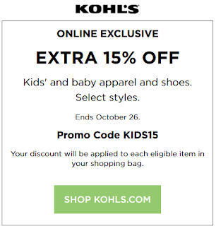 Kohls coupon extra 15% OFF baby and Kids purchase 2016