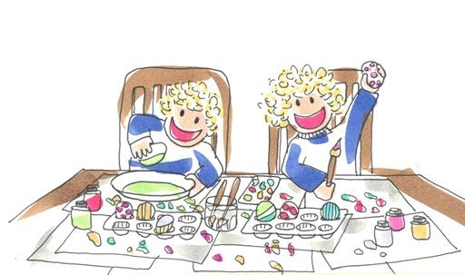 Tina y Leo se divierten pintando huevos de Pascua