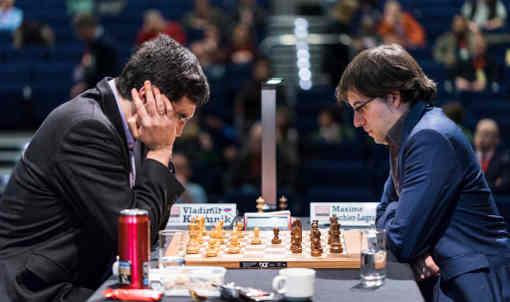 Ronde 4 : Vladimir Kramnik (2809) 1/2 Maxime Vachier-Lagrave (2804) - Photo © Lennart Ootes