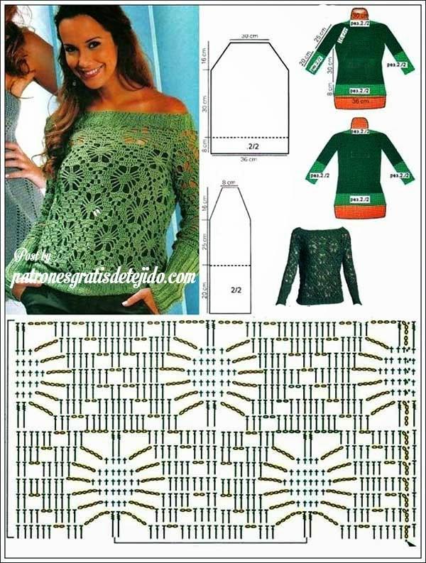 Patrones de blusa crochet con escote recto y terminaciones de dos ...