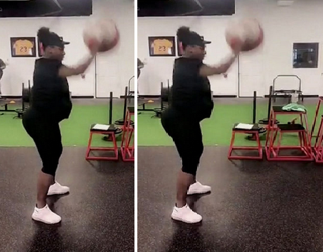 williams Heavily Pregnant Serena Williams Sweat It Out At The Gym Foreign