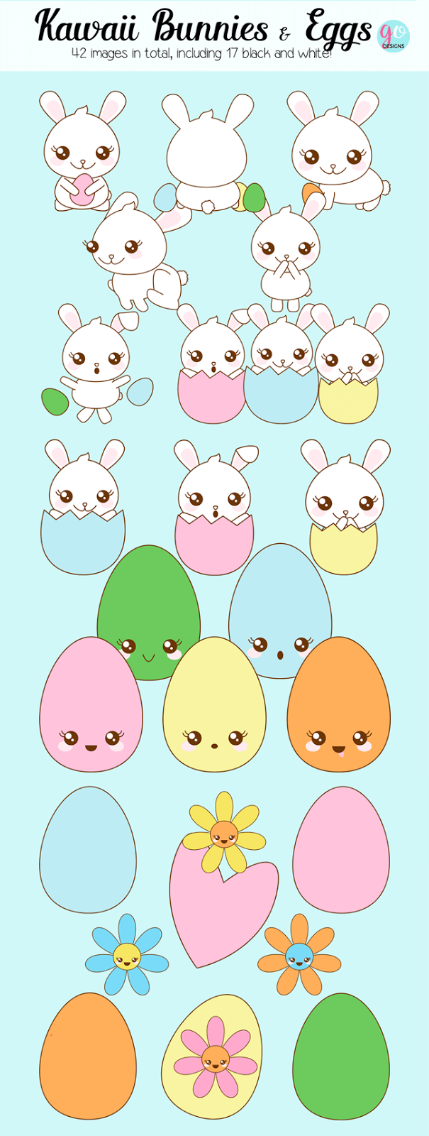 Super cute kawaii Easter clipart. 42 separate images, both colour and black and white. These are perfect for teacher products, scrapbooking, invitations, stationery and more! GradeONEderful.com