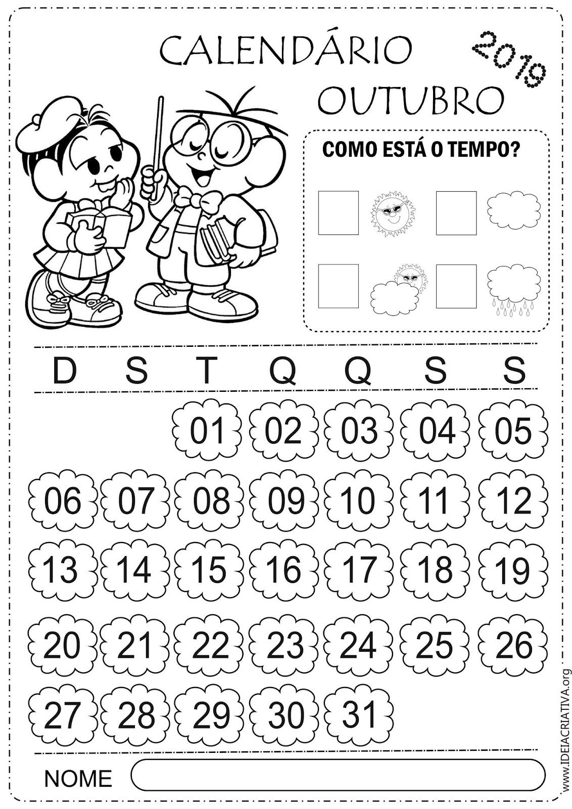 Calendarios Outubro 2019 Turma Da Monica Colorir