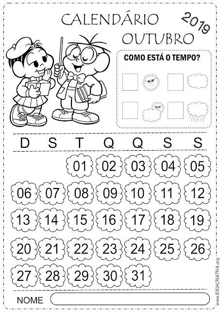Calendário escolar 2019 para imprimir Turma da Mônica mês de outubro