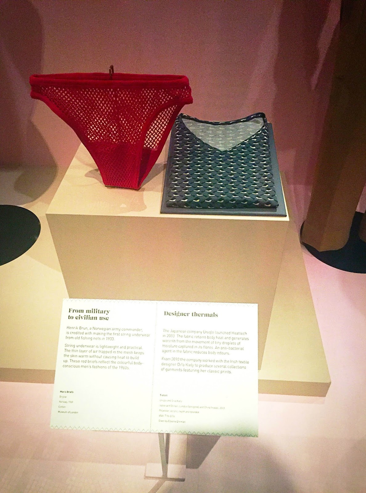 Uniqlo underwear displayed in a museum