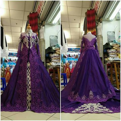 baju kebaya pengantin ungu perbesar