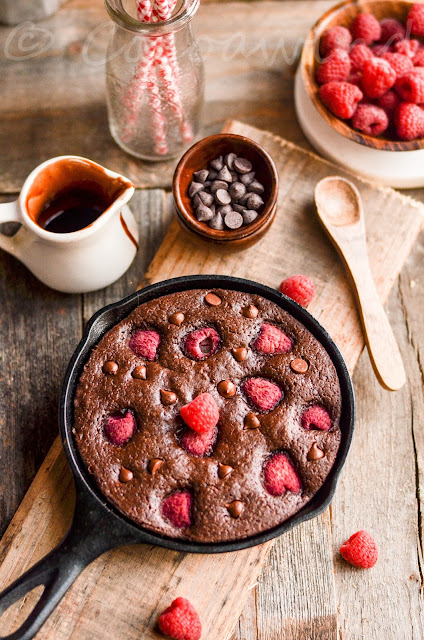 Small Batch Chocolate Chip Raspberry Brownies made in Cast Iron Skillet