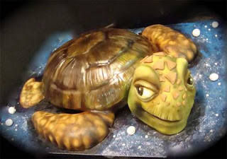 Món ăn ngon được làm từ bánh ngọt hình con rùa