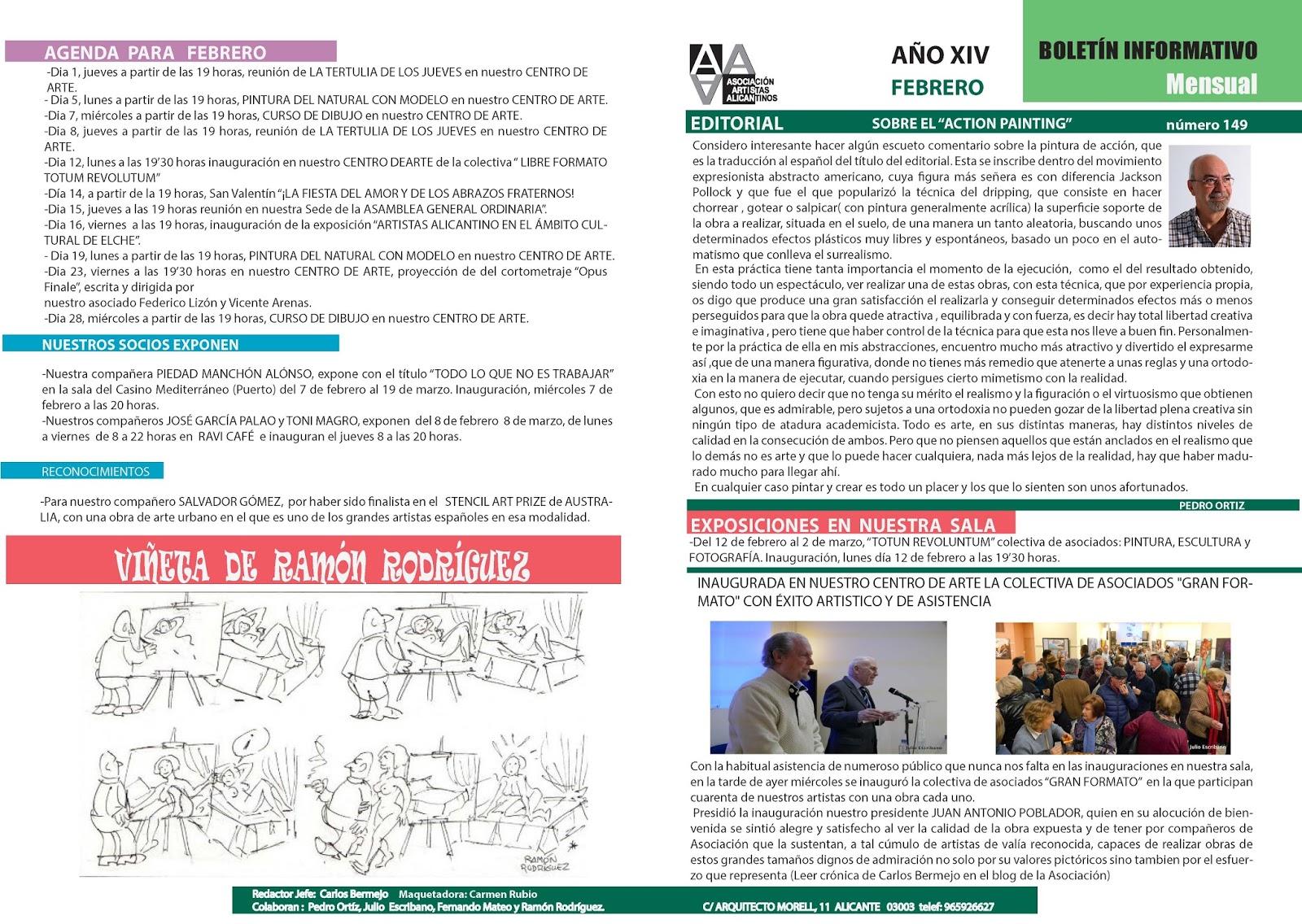 ASOCIACIÓN DE ARTISTAS ALICANTINOS: BOLETÍN PARA EL MES DE FEBRERO