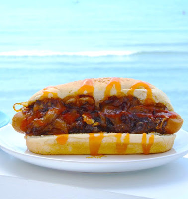Ioanna's Notebook - Hot Dog with caramelized onions