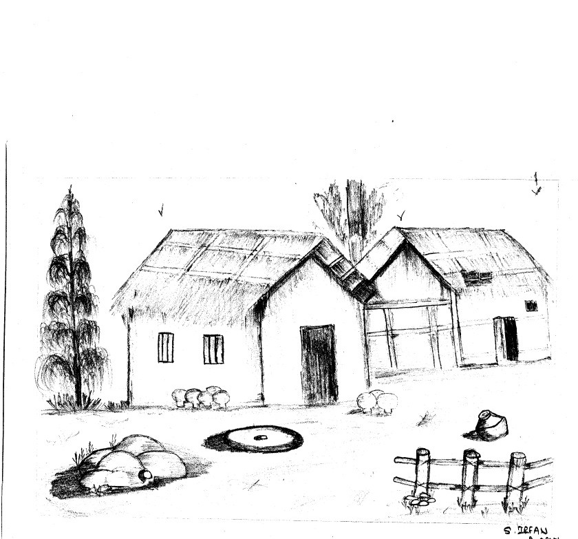 Irfu: pencil sketch of hut