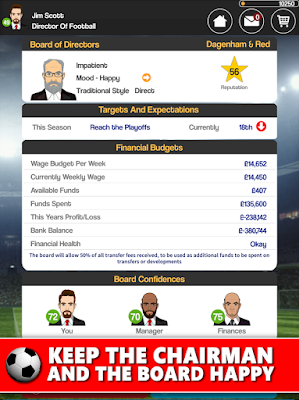 Tampilan Game Club Soccer Director 2018 Football Manager