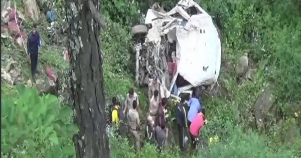 Thirteen killed and two injured  when a tempo traveller fell into a 200-metre deep gorge in Uttarakhand's Uttarkashi district following landslide.
