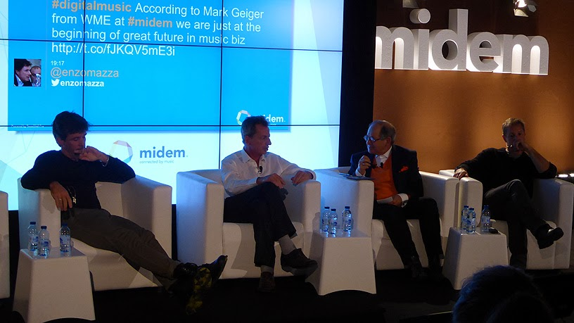Midem 2014 : Horst Weidenmüller (!K7 Records), Emmanuel de Buretel (Because Music), Ralph Simon (Mobilium Global), Marc Geiger (WME) / photo S. Mazars