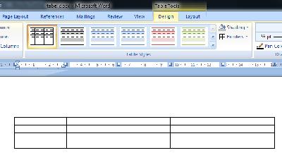 Contoh tabel pada microsoft word