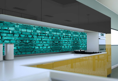 3D kitchen back splash design ideas with glass panels