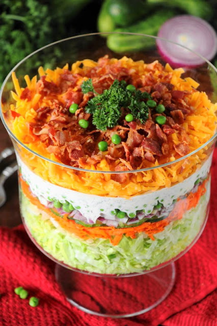 Make-Ahead Layered Salad {For a Crowd} ~ With make-ahead convenience and fabulous flavor, this is perfect for those summer cookouts & get-togethers.